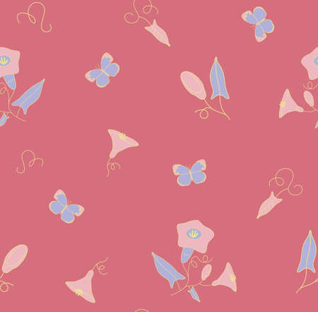 Decorative seamless pattern of the wildflowers and butterfly Ilustração