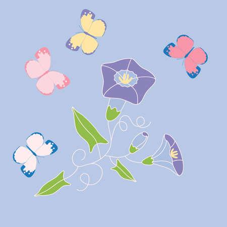 Stylized bindweeds and butterflies on blue Ilustração