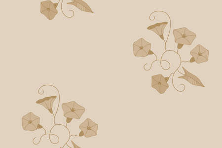 Stylized seamless pattern from the wild flowers bindweeds in light-brown colors Ilustração
