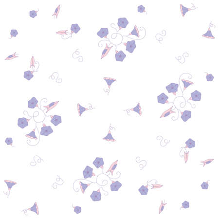 Stylized seamless pattern from the blue wild flowers bindweeds on white background.