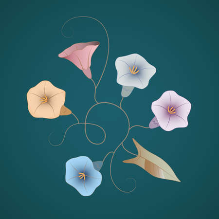Decorative wild flowers bindweeds of different colors on the deep blue-green background Ilustração