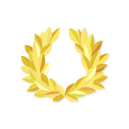 Gold laurel wreath isolated on white 일러스트