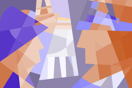 Abstract vector illustration. Accidental meeting in the city