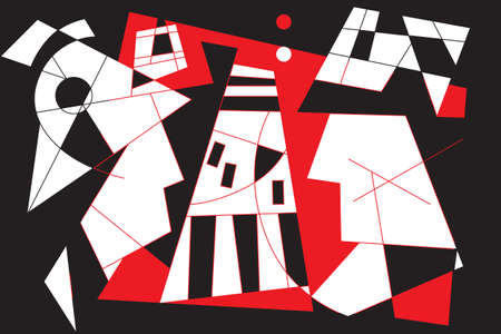 Red-white-black modern abstraction. The relationship of a man and a woman against the background of the road Illustration