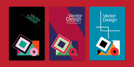 Three abstract book covers on red