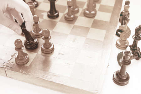 Chess game. Black castle attacked white pawn