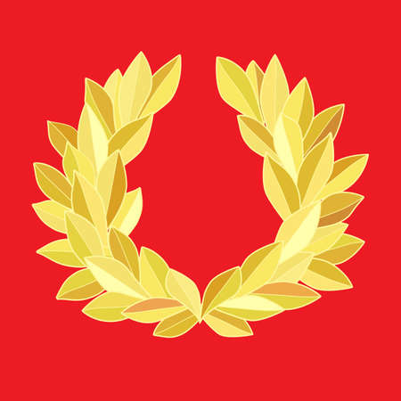 Gold laurel wreath isolated on red 矢量图像