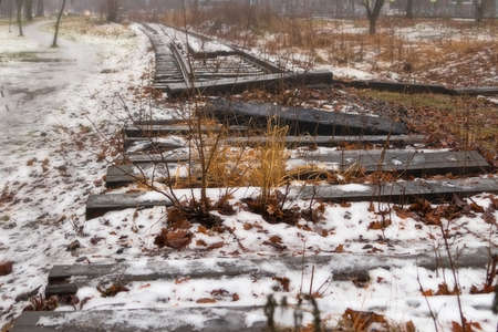 Abandoned railway near Chernaya Rechka in Saint-Petersburg, Russia, 2021