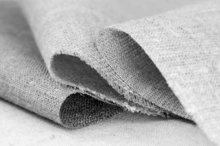 Various natural rough textile of cotton and flax, black and white