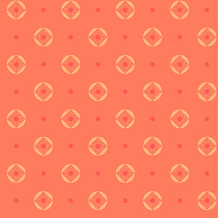 Bright coral color seamless pattern background with geometrical ornament for textile 矢量图像