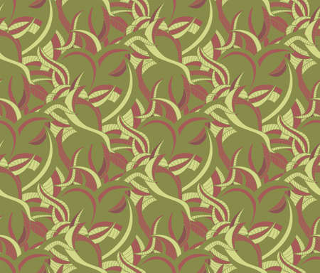 Abstract green seamless pattern background with various curves