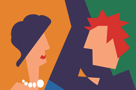 Lady and gentleman. Concept vector illustration