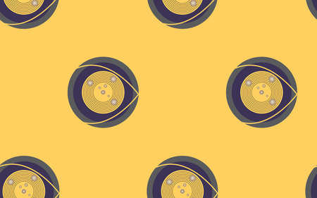 Seamless pattern background with circle abstract on the yellow background 矢量图像