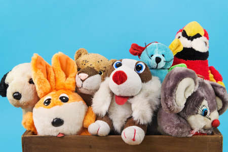 Various soft toy animals in wooden box on blue background 免版税图像