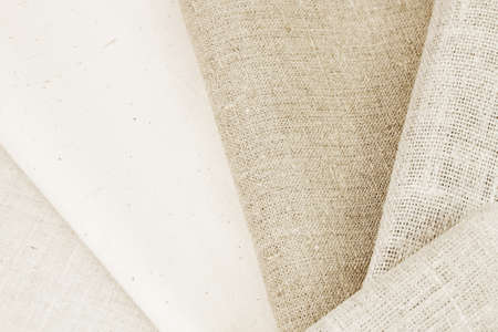 Various natural rough of cotton and flax fabric