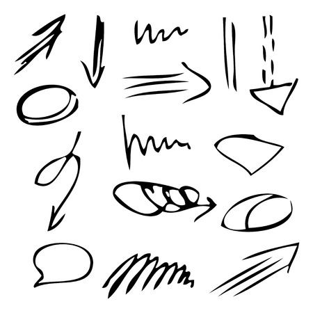 Isolated vector hand drawn black arrows set