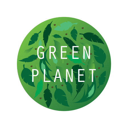 Eco, bio green , sticker, sign. Organic design template. Concept icon with green leafs. Happy earth day