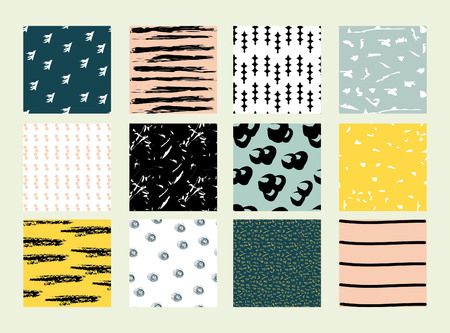 Set of 12 hand drawn trendy patterns with ink brush strokes. Primitive scratchy patterns, waves, stripes, dots, stripes