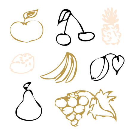 Set of colorful fruit and berries. Doodle set icons