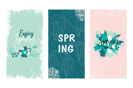 Colorful vector set of floral compositions with slogan. Invitation card for wedding, birthday and other holiday.