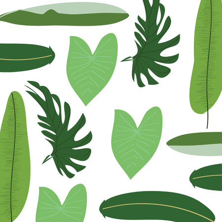 Creative card with abstract tropical leaves. Trendy style. Usable for greeting cards, invitations, poster, flyer, brochure, sticker, planner or cover