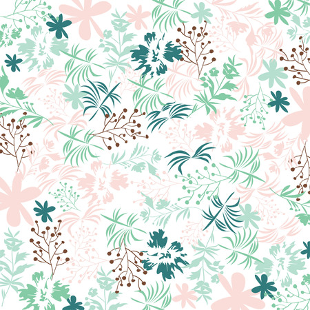 Cute floral pattern in shabby chic style. Vector pastel colors 向量圖像