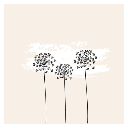 Vector dill in fresh pastel colors. Drawing in the style of boho. Can be used for fabric, wallpaper, print.