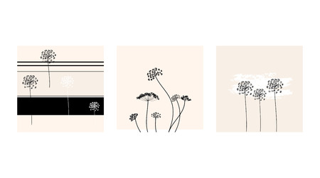Set of vector dill card in fresh colors. Drawing in the style of boho. Can be used for fabric, wallpaper, print.
