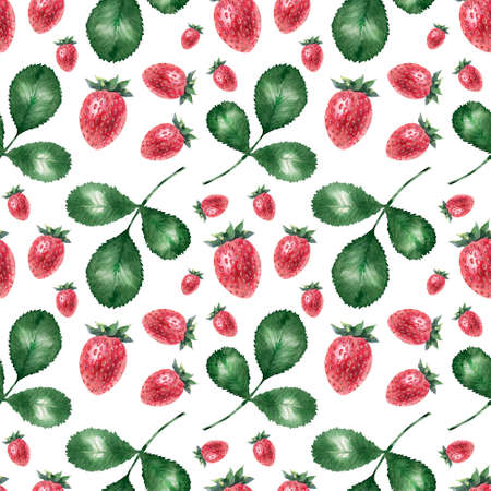 Watercolor seamless pattern with ripe strawberries Фото со стока