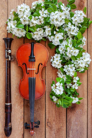 Old violin, flute and blossoming apple tree branches. Top view, close-up on vintage wooden background