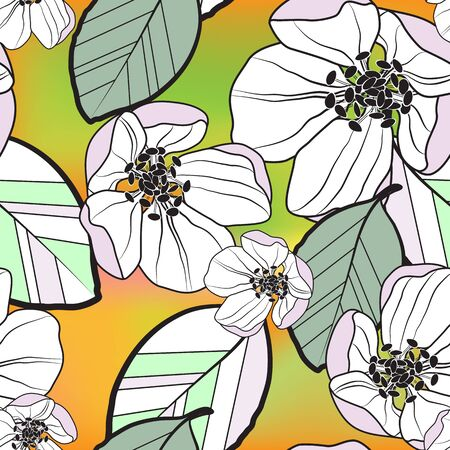Beautiful seamless abstract pattern of white-lilac apple flowers and colored leaves, on orange-green gradient background, vector. Great for decorating fabrics, textiles, gift wrapping, advertising. Illustration