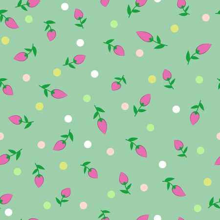 Seamless floral pattern, purplish green flowers and multicolored dots, on a bluish green background. Great for decorating fabrics, textiles, gift wrapping, printed materials, advertising, or other.