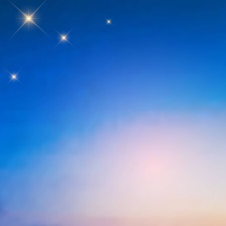 Bright stars in the pre-dawn sky, a beautiful blurred transition from saturated blue to pale pink, vector. Excellent as a background for the production of printed product, advertising, or other design