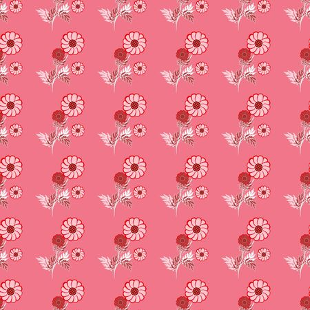 Seamless floral pattern of pink and red flowers with white and claret leaves, on a pinkish background. Great for decorating fabrics, textiles, gift wrapping design, any printed materials, advertising.