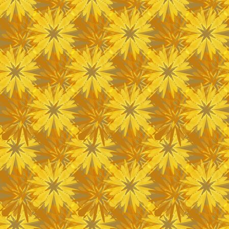 Abstract seamless yellow brown intricate mosaic pattern. Great for decorating fabrics, textiles, gift wrapping design, any printed materials, advertising, or other design.