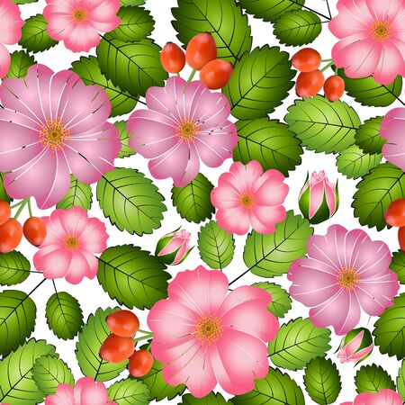 Bright seamless pattern of pink flowers, leaves and rosehip berries, on a white background, vector. Great for decorating fabrics, textiles, gift wrapping design, any printed materials and advertising.