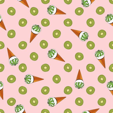 Seamless pattern of ice cream in a waffle cup and kiwi. Great for decorating fabrics, textiles, gift wrapping design, any printed materials, including advertising. Ilustração