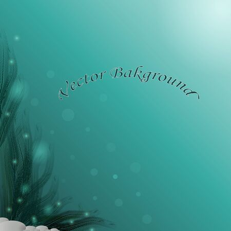 Beautiful seabed background with algae and gray stones, in blue-green and turquoise tones. Great as a background for a poster, web pages, gift wrapping design, any printed materials, advertising. Illustration