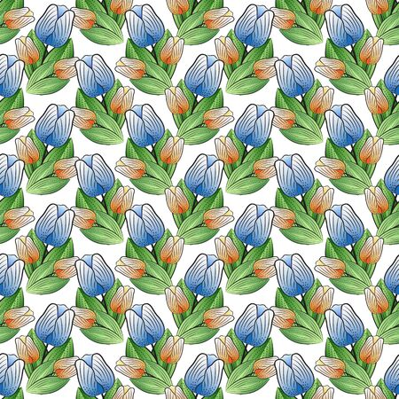 Floral seamless pattern of blue-violet and orange-yellow tulips with green leaves, print on a white background, vector. Great for decorating fabrics, textiles, printed materials, advertising or other.  イラスト・ベクター素材