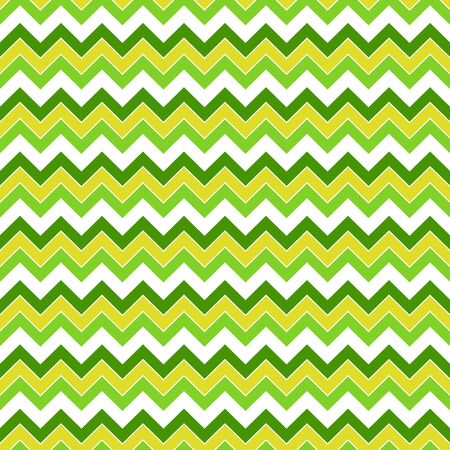 Seamless pattern in yellow-green and white colors, zigzag, broken line, vector. Great for decorating fabrics, textiles, gift wrapping design, any printed materials, advertising, or other design.  イラスト・ベクター素材