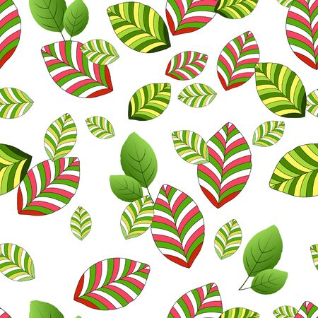 Seamless pattern of yellow-green and red-green striped leaves, on a white background. Great for decorating fabrics, textiles, gift wrapping design, any printed materials, advertising, or other design.