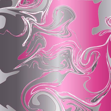 Abstract background, swirling, fluid pattern of gray, white and magenta colors.