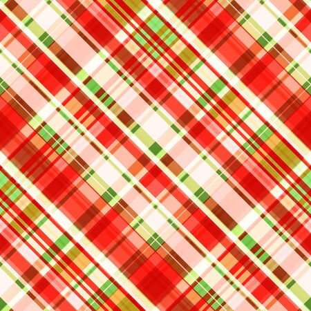 Checkered oblique seamless pattern, bright red, green and pale coral strip. Great for decorating fabrics, textiles, gift wrapping design, any printed materials, advertising, or other design. 写真素材 - 128863145