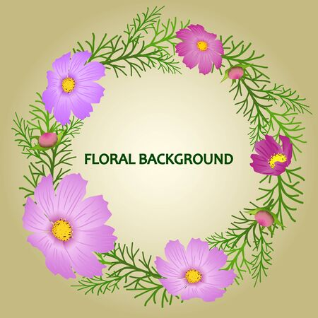 A wreath of cosmea flowers of violet-purple and magenta color, green leaves and buds, on a green-beige gradient background. Great as a background for a poster, web pages, advertising, or other.