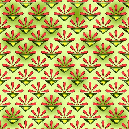Seamless abstract pattern of coral suns, flowers, and color triangles, on a yellow-green spotted background. Great for decorating fabrics, textiles, gift wrapping, printed materials, advertising.