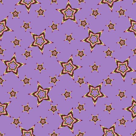 Seamless pattern of stars stacked of colored squares, on a bright purple background. Great for decorating fabrics, textiles, gift wrapping design, any printed materials, advertising, or other design.