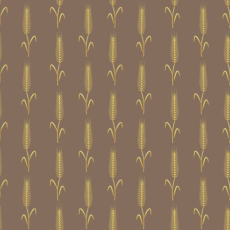 Seamless floral pattern of golden shiny ears of wheat on the stems, on a brown background. Great for decorating fabrics, textiles, gift wrapping design, any printed materials, including advertising.