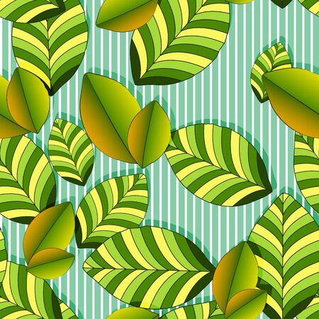 Seamless vegetative pattern of striped green-yellow large leaves, white striped green background, bright tea leaf. Great for decorating fabrics, textiles, gift wrapping, printed materials, advertising