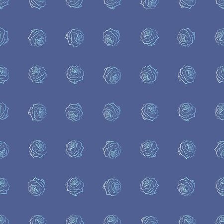 Floral pattern of light roses, on a blue background. Beautiful background pattern, great for decorating fabrics, textile products, gift wrapping designs, any printed products, advertising.