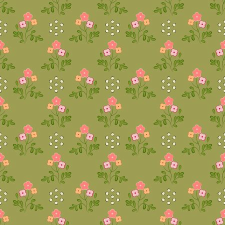 Seamless pattern of pink and apricot flowers with green leaves, on an olive background.  Great for decorating fabrics, textiles, gift wrapping design, any printed materials, including advertising. Illustration